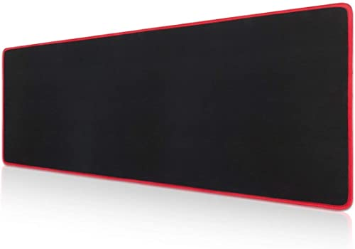 """Large Gaming Mouse Pad Extended Mat Non-Slip Desk Pad Rubber Mice Pads Stitched Edges Long Mousepad 23.5x11.6"""" Red"""