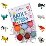 Bath Bombs for Kids with Surprise MINI Toys Animals Inside - Bubble Fizzies with Essential Oils - Multicolored 8 Bath Bombs - Natural & Organic Ingredients Set for Girls and Boys Handmade in the USA
