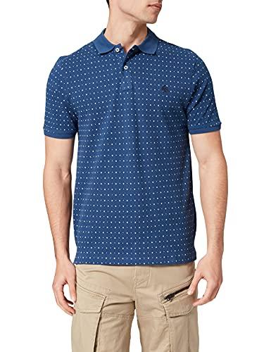 Springfield Polo Slim Estampado All Over Camiseta, Azul Medio, M para Hombre