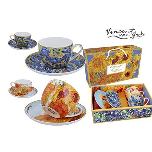 Carmani Vincent Van Gogh - Set di 2 tazze e piattino in porcellana da 250 ml