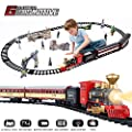 SNAEN Electric Classic Train Sets w/ Steam Locomotive Engine, Cargo Car and Tracks, Battery Powered Play Set Toy w/ Smoke, Light & Sounds, for Kids, Boys & Girls, Red