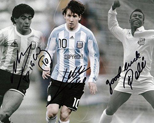 Fotodruck von Maradona Messi Pele, mit vorgedrucktem Autogramm, limitierte Edition