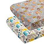 ALVABABY Pack n Play Baby Play Playard Sheets, 2pcs 100% Organic Cotton,Large 27x39x4″,Soft and Light,Portable Crib Sheet for Boys and Girls Player Matteress 2FTPSW09