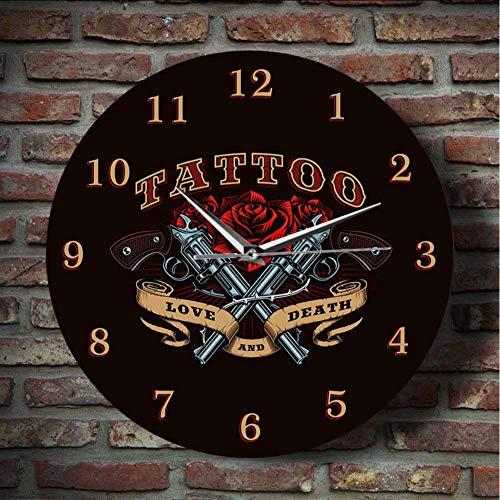 JKXIANSHENG Pistole Und Rose Liebe Und Tod Tattoo Studio Zeichen Dekorative Wanduhr Old School Man Cave Wand Dekor Silent Quarz Wanduhr 12 Zoll