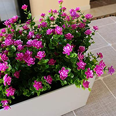 YXYQR Artificial Flowers Outdoor UV Resistant Fake Plastic Plants Outside Indoor Hanging Faux Greenery Shrubs Arrangement for Vase Porch Window Box Patio Wedding Home Decoration 4 Pack (Fushia)