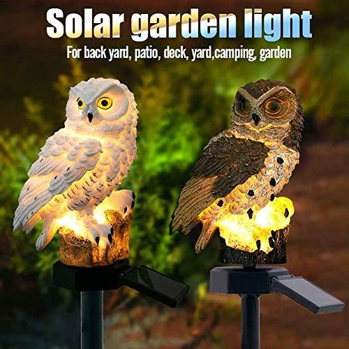 Verdelife Solar-Rasenlampe, Solar-Eulen für den Garten, Outdoor-Solarleuchte, Gartendekoration, wasserdicht für Wege, Rasen, Hof, Gartenlampen weiß
