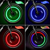 TAGVO LED Roue Lumières (Rouge+Vert+Bleu+Multicolore) Lot de 4 avec Boîte Délicate,Imperméable Facile à Installer Roue Spoke Lights Lampe LED Neon Tire Flash avec 3modes de Flash, pour Tous Les vélos