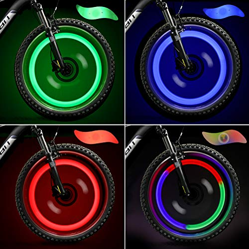 TAGVO 4pcs Bike Spoke Light (Red+Green+Blue+Multicolour) with Delicate Box, Waterproof Easy Install Wheel Spoke Lights LED Neon Tire Flash Lamp with 3 Flash Modes, for Both Adults Kids Bike