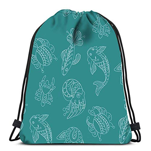 Unisex Drawstring Bags,Marine Themes With Wild Sea Animals And Fishes Ornamental Graphic Sport Gym Bag Foldable Tote Sack Cinch Bag Men & Women Drawstring Backpack For Swimming Climbing School