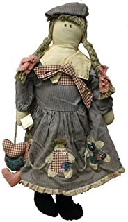 Rag Doll 25 Inches with Ribbons, Blue Hat and Dress with Hearts and Ribbon Decals
