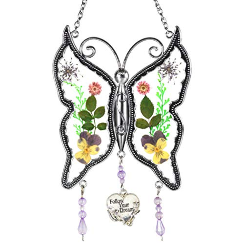 Moent New Butterfly Glass Wind Chime With Pressed Flower Wings Embedded In Glass, Butterfly Plant Wind Chime C