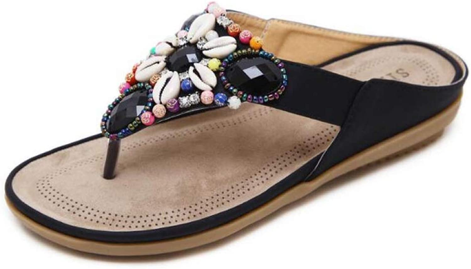 MEIZOKEN Women Flip Flops Bohemia Summer shoes Sexy with Beading Beach Slippers