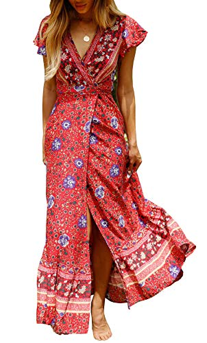 R.Vivimos Women's Summer Short Sleeve Floral Print Bohemian Beach Waist Tie Wrap Long Flowy Dress with Slit (XS, Red)