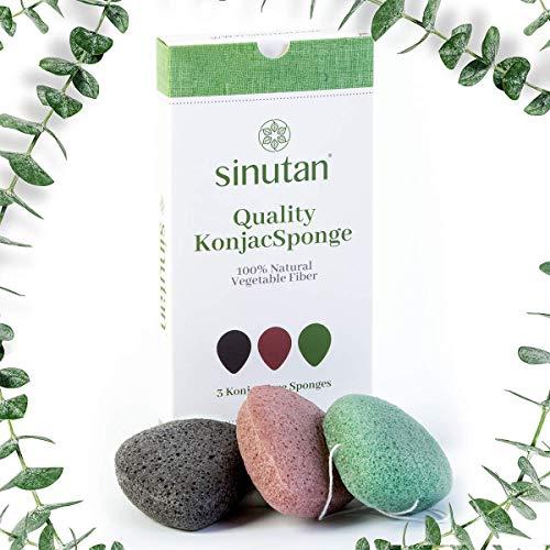 Sinutan® Konjac Schwamm | 100% Natürliche (3er-Set) Bambus-Aktivkohle / Grüner Tee / Reines Rot | Reinigungsschwamm für das Gesicht | Detox Gesichtsschwamm | Ökologische Geschenkidee