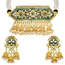 I Jewels Traditional Gold Plated Kundan Pearl Meena Work Choker Jewellery Set with Jhumkis for Women