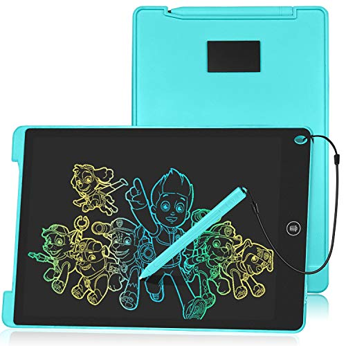 HOMESTEC Tableta Escritura LCD Color, Pizarra Digital para Apuntar Recordatorios, Escribir o Dibujar (12 Pulgadas, Azul)