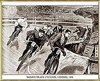 ポスター アーティスト不明 Women Track Cyclists 1898 額装品 アルミ製ベーシックフレーム(ゴールド)