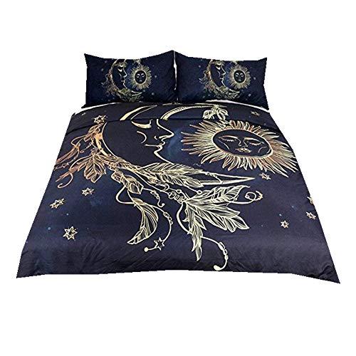 Stillshine Parure de lit avec Housse de Couette Mandala Fleurs Sun Star Moon Housse de Couette avec Taie d'oreiller Parure de lit Noir Foncé Bleu Double Size 200x200cm
