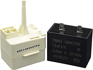 ATMA W10613606 Refrigerator Compressor Start Relay and Capacitor for Whirlpool KitchenAid Kenmore Fridges W10416065 PS8746522 67003186
