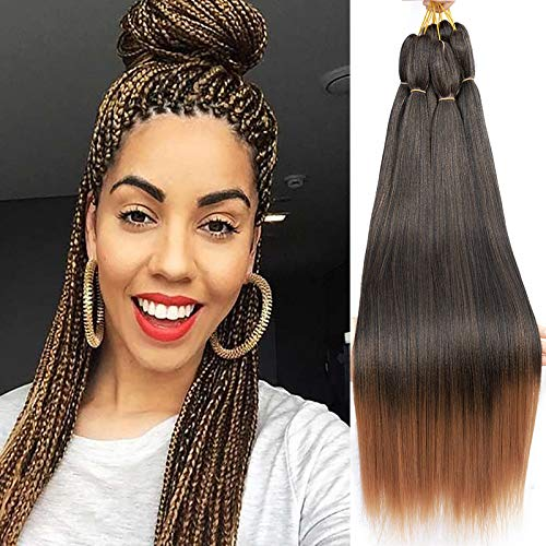 "Braiding Hair Pre Stretched Braiding Hair 8Packs/Lot 16 Inch Two Tone Short Professional Easy Prestretched Braiding Hair For Crochet Braids/Twist Crochet Hair For Women Itch Free Perm Yaki Straight Synthetic Hair Befunny(16"", T1B/30#)"
