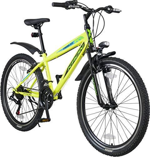 KRON Cross 3.0 Jugendrad 24 Zoll Mountainbike Hardtail Jugend Fahrrad 21 Gang MTB Neon Gelb
