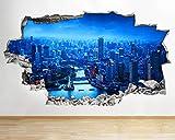 Pegatinas de pared 3D pegatinas de pared Shanghai Sunset Cool Smashed Decal 3D Art Vinilo Room Art Poster