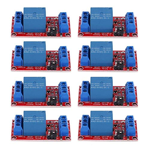 Guadang 8pcs Relay Control Module, 5V 1 Channel Insulated Relay Module, SMD Optocoupler Isolation, Strong Driving Capacity, Stable, Max Load Ac 250V / 10A, DC 30V / 10A