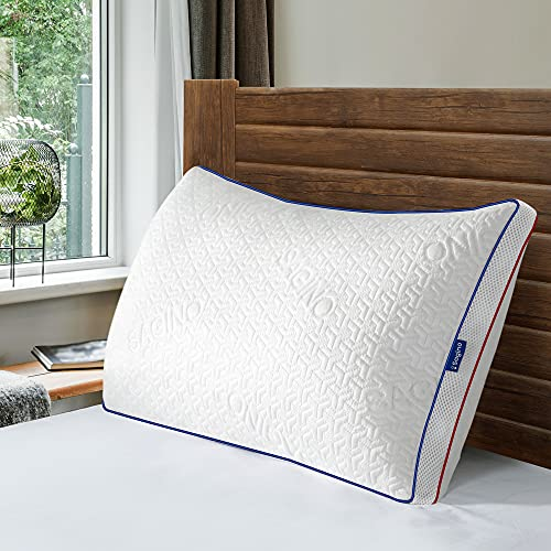 Sagino Shredded Memory Foam Pillow, Cooling Pillow with Cool & Warm Double-Side Design, Adjustable Loft, Premium Gel-Infused Pillow with Proper Orthopedic Support for All Sleep Positions, Queen
