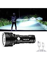 30000-100000 Lumen Grote zaklamp Krachtige LED XHP70 Waterdichte, oplaadbare zaklamp Zakformaat Ultrahelder, kamplamp Led campinglicht USB Oplaadbare zaklamp