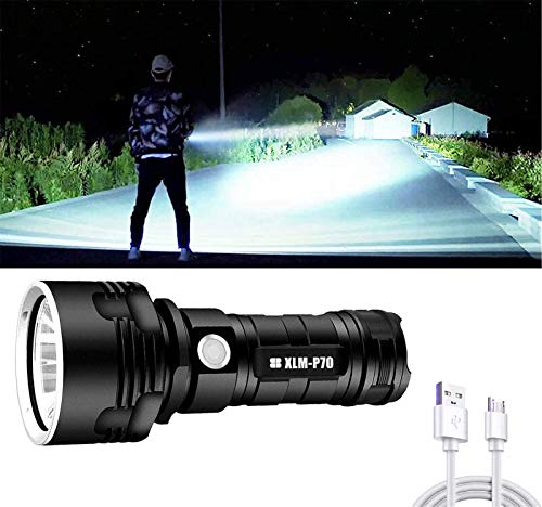 W Weiluogao 30000-100000 Lumen Linterna Grande LED de Alta Potencia XHP70 USB Recargable, Impermeable Tamaño de Bolsillo Ultra Brillante, Lámpara de Campamento Luz (P70)
