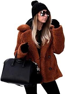 Abrigo de peluche grueso de forro polar para mujer