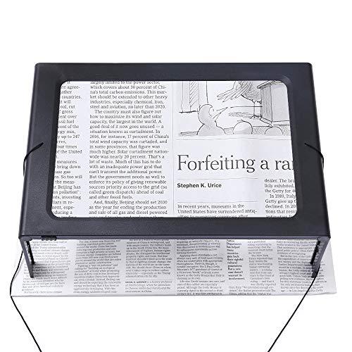 Hands-Free 3X Magnifying Glass Large Full-Page Rectangular Magnifier LED Lighted Illuminated Foldable Desktop Portable for Elder