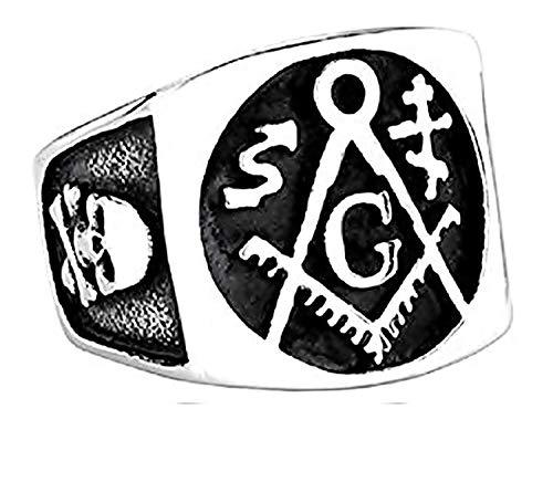Vierkante ring zilver en zwarte meester vrijmetselaar - schedel - vierkant - kompas - metselwerk - esoterische symbolen - roestvrij staal - man vrouw en meisje