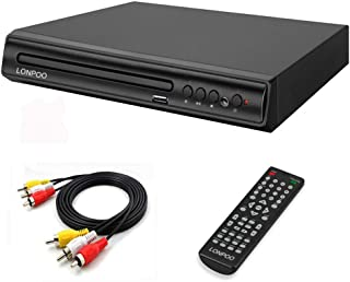LONPOO DVD Player for TV, Compact Region Free DVD CD Disk Player with Multi-Regions 1/2/3/4/5/6, USB Port, Remote Control, RCA Audio Cable for TV