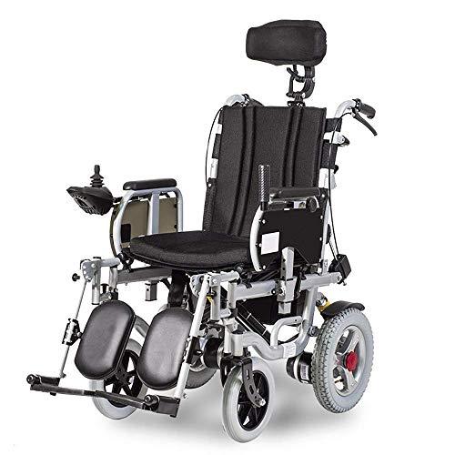 FTFTO Inicio Accesorios Ancianos Discapacitados Respaldo Alto Sillas de Ruedas eléctricas Totalmente tumbadas Ancianos Scooter Ligero multifunción Plegable 360 Grados Joystick Motor Dual