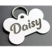 """Pawsitively Pet Tags DEEP Custom Stainless Steel Pet ID Tags Front and Back Engraved Dog Tags Personalized for Dogs and Cats (Bone 1"""" X1-1/2)"""