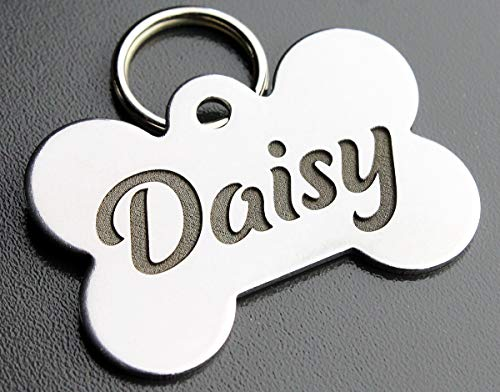 Pawsitively Pet Tags DEEP Custom Stainless Steel Pet ID Tags Front and Back Engraved Dog Tags Personalized for Dogs and Cats (Bone 1' X1-1/2)
