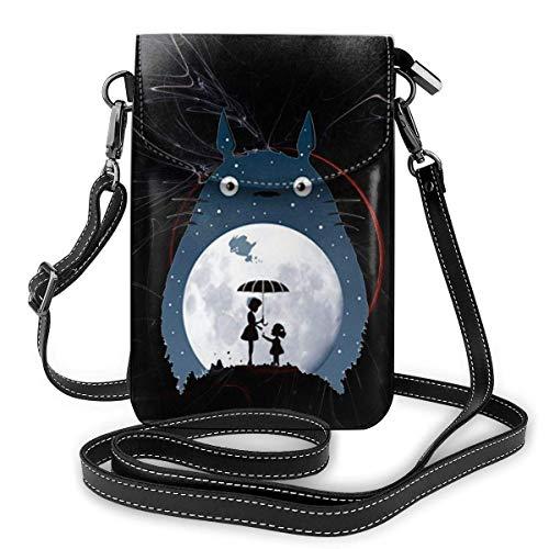 NuoJiaGe Bolso bandolera de cuero para teléfono, cartera para mujer, bolso pequeño, mini bandolera totoro