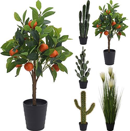 Fair-Shopping Kunstpflanze Zimmerpflanze Kaktus Orangenbaum Pusteblume Baum Deko Pflanze Variation (Orangenbaum)