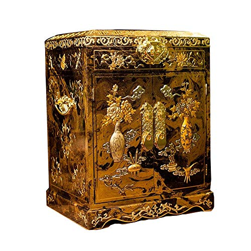 HAIHF Holz Schmuck Box, chinesische Aufbewahrungsbox, Kunsthandwerk, Schmuck Aufbewahrungsbox, Dressing Box, Lackwaren, Vase Vintage Jewellery Box, Painted Lacquer Crafts Jewelry Box