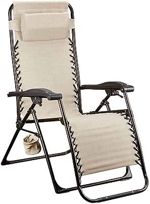 Textilene Folding Recliner Chair Relaxer Chair Zero Gravity Deck Chairs Garden Beach Gray with Cup Holder Cream Color