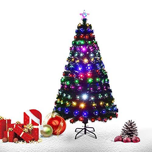 Goplus Brillante Albero di Natale Verde PVC con Stella di Natale e Tutti Rami Luci Colorate a Fibre Ottiche di 6 Colori in 8 Controlli di Cambiameto, Supporto in Metallo, Altezza 150-210cm (150)
