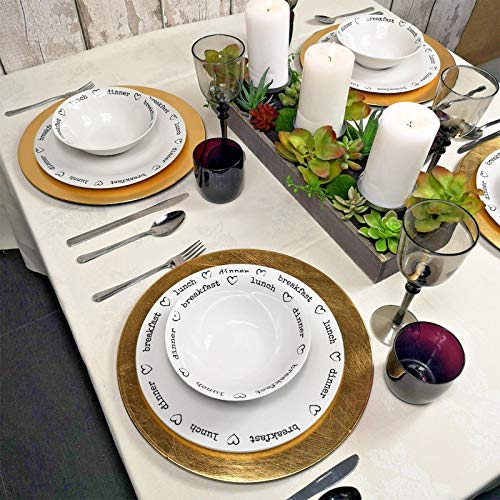 Get Goods Round Gold Charger Plates Centrepiece Tableware Under Place Settings New (6)