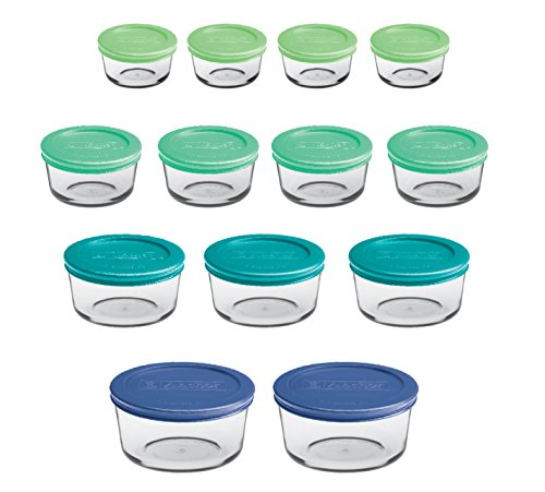 Anchor Hocking Round Food Storage Containers with Plastic Lids Mixed Sizes Set of 13