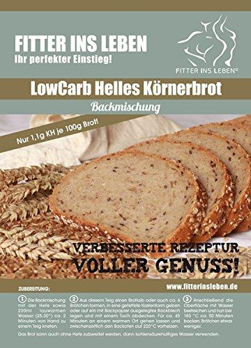 Nur 1,1g/100g Kohlenhydrate! 4er Pack Fitter ins Leben Paleo Low Carb Helles Körner Eiweißbrot lowcarb Brotbackmischung vegan Brot Eiweiß 33g/100g - 2