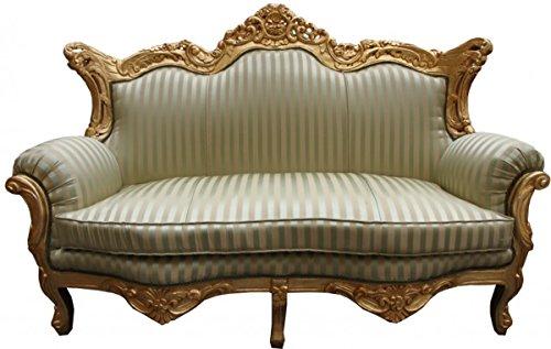 Barock 2er Sofa Master Jadegrün/Beige/Gold - Wohnzimmer Couch Möbel Lounge