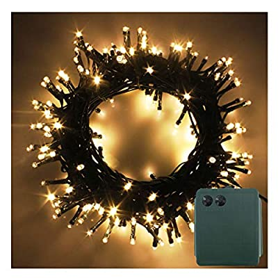 PMS LED String Fairy Lights Green Cable Battery Power Operated Waterproof Indoor & Outdoor for Christmas Tree Xmas Party Garden Decoration
