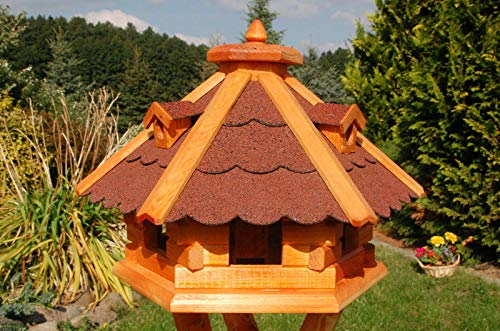 DEKO VERTRIEB BAYERN XXL Premium Vogelhaus mit/ohne Solar/Ständer Holz Futterhaus Vogelfutterhaus Vogelvilla Vorratsfütterung, Farbe: Rot ohne Solar