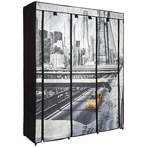 ONVAYA Armario de tela negro | Armario plegable con diseño de Londres o París | Armario de tela con barras para colgar (negro – Diseño de New York)