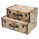 hmf vko104 valigia in legno vintage   set di 2   dimensioni diversi   a colori mappa del mondo